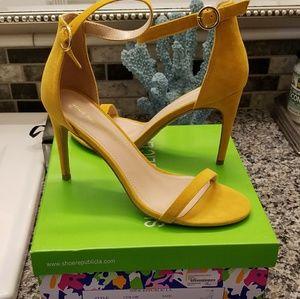 Shoe republic faux suede ankle-strap yellow heels